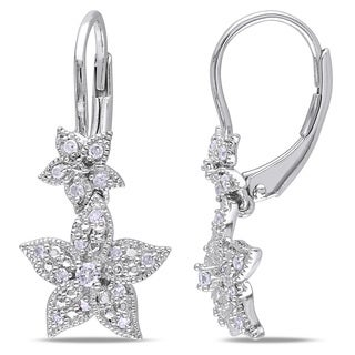 Miadora Sterling Silver 1/5ct TDW Diamond Flower Dangle Earrings (H-I, I2-I3)