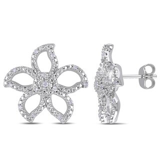 Miadora Sterling Silver 1/8ct TDW Diamond Stud Flower Earrings (H-I, I2-I3)