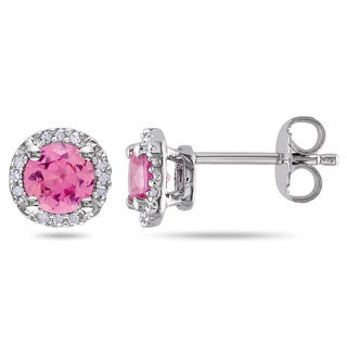 M by Miadora Silver Created Pink Sapphire and Diamond Accent Halo Earrings