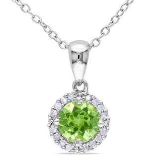 M by Miadora Silver Peridot and 1/10ct TDW Diamond Necklace (H-I, I2-I3)