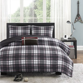 Mi Zone David Black Plaid 3-piece Coverlet Set