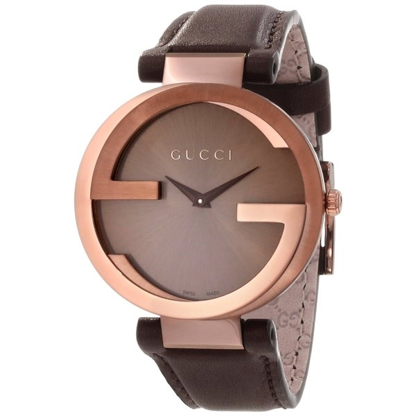 Gucci Men's YA133207 'Interlocking' Brown Dial Brown Leather Strap Quartz Watch
