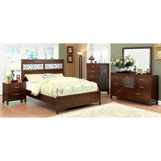 Furniture of America Petalia 4-Piece Brown Cherry Bedroom Set