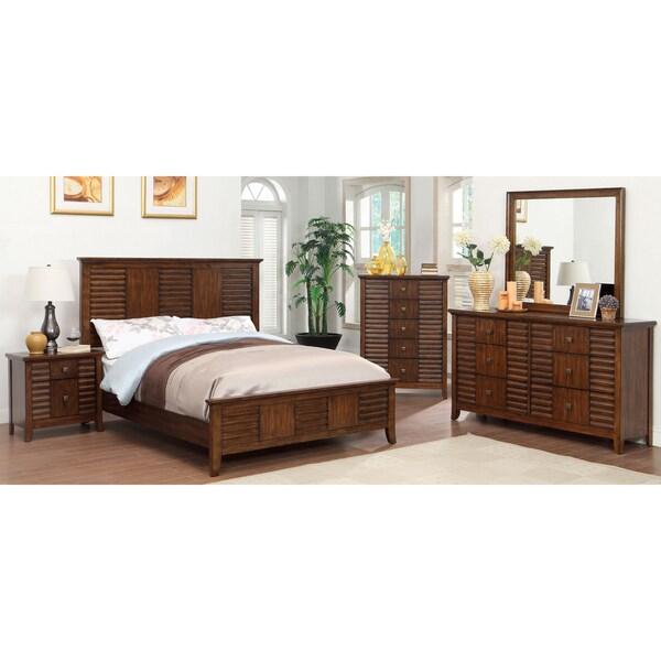 Furniture Of America Tyrenia 4 Piece Walnut Finish Bedroom Set