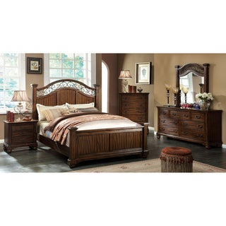 Furniture of America Locklore Antique Dark Oak Textured Poster Bed