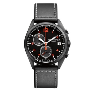 Hamilton Men's H76582733 Pilot Pioneer Black Chronograph Watch