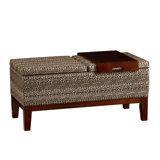 Upton Home Barbara Leopard Print Bench with Tray