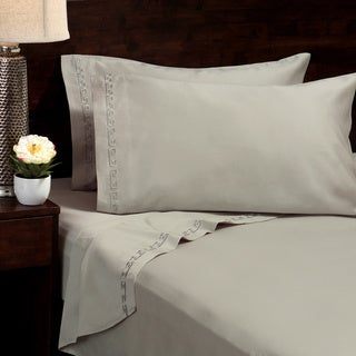 Egyptian Cotton Sateen 600 Thread Count Greek Border Sheet Set (Pillowcase Set Option)