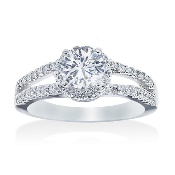 14k White Gold 3/4ct TDW Diamond Halo Engagement Ring (I-J, I2-I3)