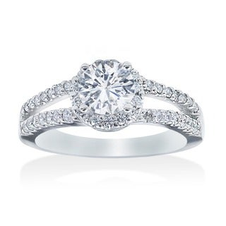 14k White Gold 3/4ct TDW Diamond Halo Engagement Ring (I-J, I2-I3)