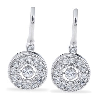 Bliss 10k White Gold 3/8ct TDW Diamond Vintage Halo Earrings (H-I, I1-I2)