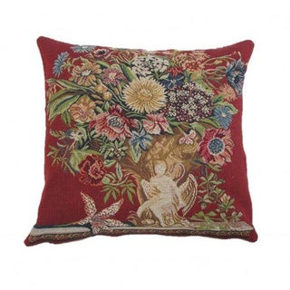 French Woven Floral Design Decorative Throw Pillow
