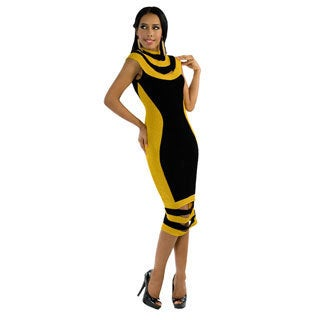 Kayla Collection Vol 2 Women's Two-tone Yellow and Black Cocktail Dress