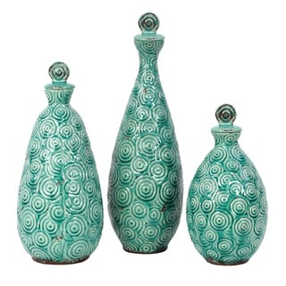 Turquoise Textured Stoneware Vases (Set of 3)