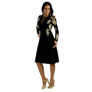Kayla Collection Vol.2 Women's Floral Embroidered Long-sleeve Cocktail Dress