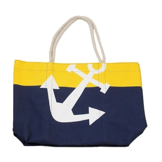Magid Two-tone Nautical Anchor Canvas Tote Handbag