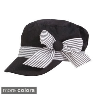 Magid Cotton Canvas Cadet Hat with Striped Bow