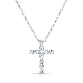Platinum Silver 1ct TDW Diamond Cross Pendant Necklace (H-I, I1-I2)