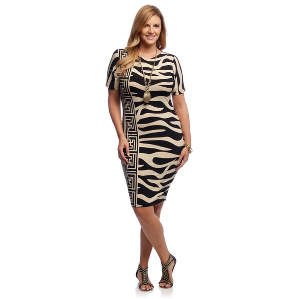 A Plus Style Women's Plus Size Black and Tan Dual-print Midi Dress