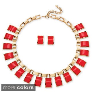PalmBeach Goldtone Lucite Necklace and Earrings Jewelry Set Bold Fashion