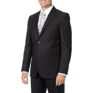 English Laundry Men's Black Peak Lapel 2-piece Suit