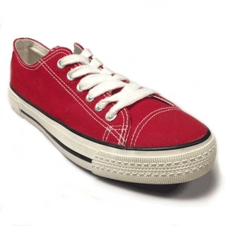 Women's Red Canvas Lace-up Sneakers