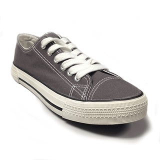 Women's Grey Canvas Lace-up Sneakers