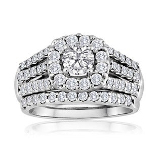 14k White Gold 2ct TDW Diamond Bridal Ring Set (H-I, I1-I2)