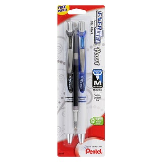 Pentel EnerGel Pearl RTX 0.7mm Black and Blue Gel Pens with Refill