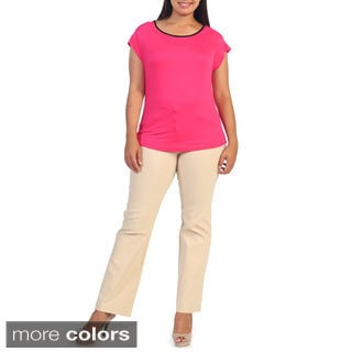 Hadari Women's Plus Size Scoop-neck Blouse