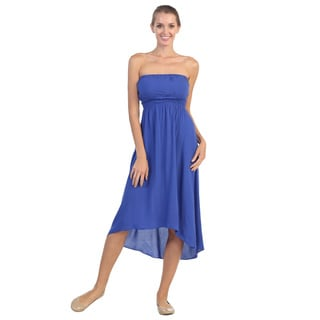 Hadari Women's Royal Hi-low Strapless Dress