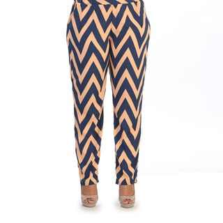 Hadari Women's Plus Size Chevron Straight-leg Casual Pant