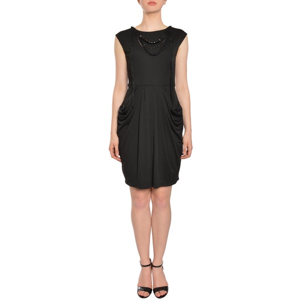 BCBG Maxazria Jersey Knit Necklace Draped Career Cocktail Dress