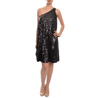Halston Heritage Women's Black Allover Sequins Single-shoulder Cocktail Party Dress