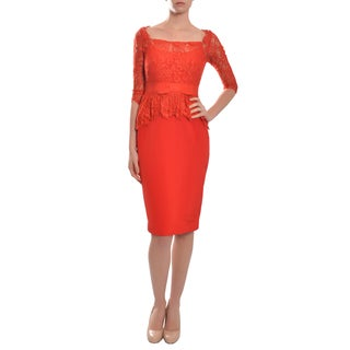 Marchesa Women's 'Notte' Lace Silk Sateen Peplum 3/4-length Sleeve Cocktail Eve Dress