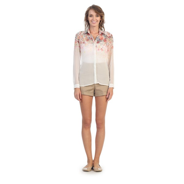 Hadari Women's White Floral Chiffon Button-up Top