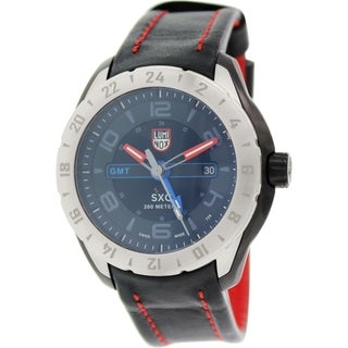 Luminox Men's 5127 Space Black Dial Black Leather GMT Watch