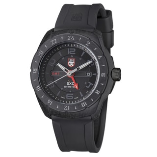 Luminox Men's A.5021.GN 'SXC' Black/Red Dial Black Rubber Strap Date Time Quartz Watch