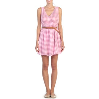 Hadari Women's Pink Gingham Plaid Sleeveless V-neck Dress