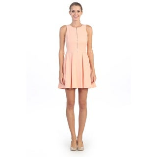 Hadari Women's Pink Sleeveless A-line Dress