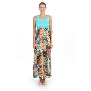 Hadari Women's Blue and Floral Print Sleeveless Maxi Dres