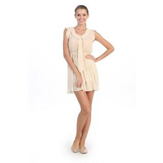 Hadari Women's Creme Bow-tie Front Collared Dress