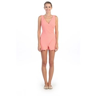 Hadari Women's Coral Plunging V-neck Sleeveless Romper