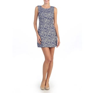 Hadari Women's Navy Lace Sleeveless Shift Dress