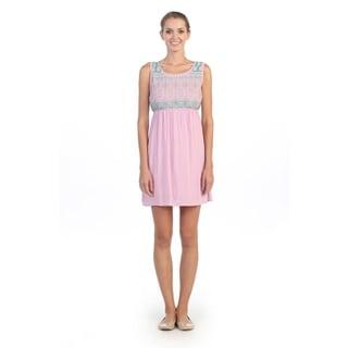 Hadari Women's Lavender Elastic Waistband Sleeveless Dres