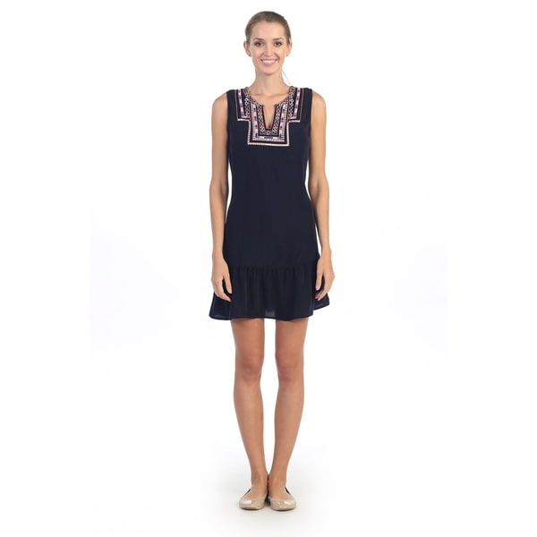 Hadari Women's Navy Embroidered-neck Sleeveless Dress