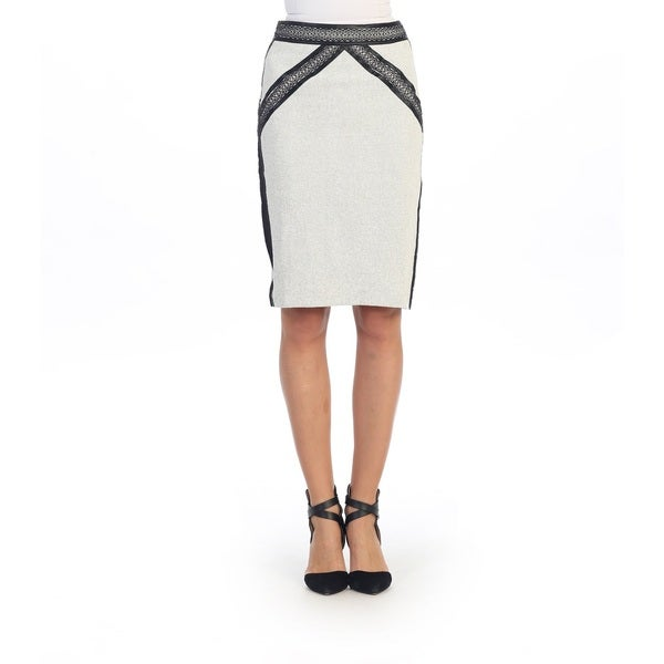 Hadari Women's White and Black Straight Pencil Skirt