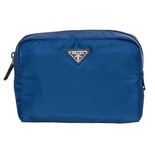 Prada Vela Blue Zipper Cosmetic Case
