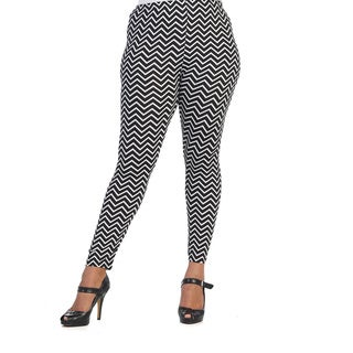 Hadari Women's Plus Black and White Chevron Print Leggings