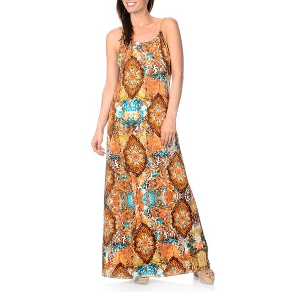 Lennie for Nina Leonard Women's Turquoise/ Brown Printed Maxi Dress